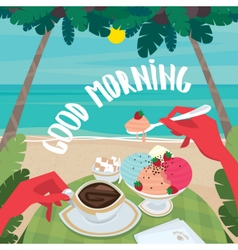 Man having breakfast on the beach vector image vector image
