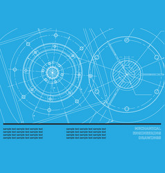 Mechanical engineering drawings on a blue vector