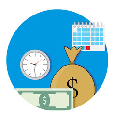 Money and business time icon flat vector