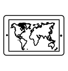 monochrome contour tablet in horizontal position vector image vector image