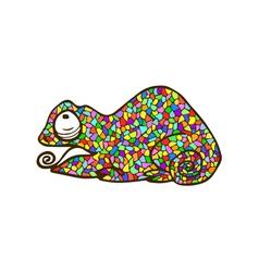Mosaic chameleon colorful animal vector