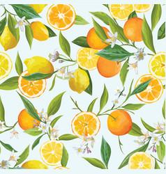Orange and lemon seamless tropical pattern vector