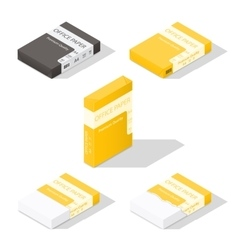 Paper for copier isometric icon set vector