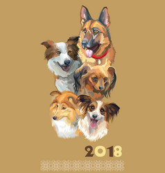 Postcard with dogs of different breeds-2 vector