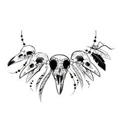 Raven Sugar Mexican Skull Raven Skull vector image vector image