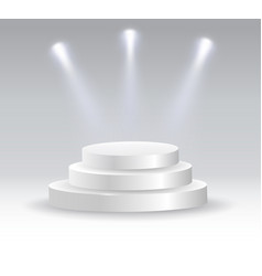 round podium illuminated by spotlights vector image