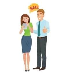 Sales e-commerce concept man and woman vector
