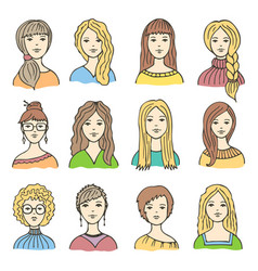 Set of different colored female icons vector