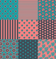set of nine simply seamless patterns vector image