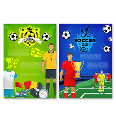soccer sport club poster with elements vector image