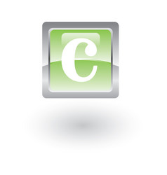 square glossy icon letter c vector image
