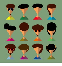The Set of people in flat style with faces vector image vector image