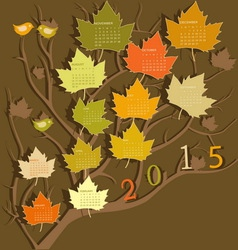 Tree shape calendar for 2015 vector image