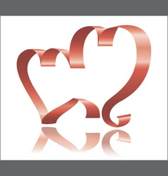 two ribbon hearts vector image vector image