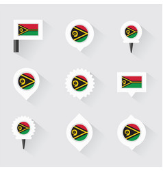 Vanuatu flag and pins for infographic and map vector