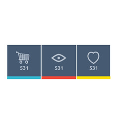 Website element icon shopping views and like vector