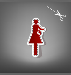 Women and baby sign red icon with for vector