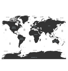 world map of oceans with labels of oceans seas vector image
