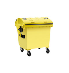 yellow recycling container for plastic isolated vector image vector image