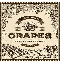 Vintage brown grapes label vector image