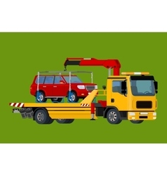 Car towing truck evacuator online roadside vector