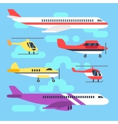 Aircraft airplane plane helicopter flat icons vector