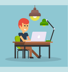Man work with computer design flat vector