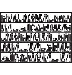 Books on shelves vector image