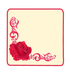 Button banner business card roses and ornaments vector