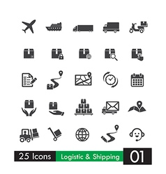 Set of 25 logistic shipping transport icons vector