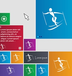 Skier icon sign buttons modern interface website vector