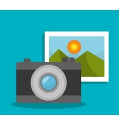 Camera and picture design vector