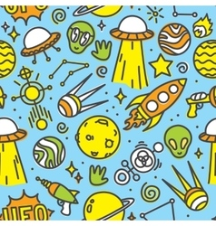Cartoon space ufo aliens seamless pattern vector