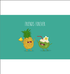 Pineapple coconut vector