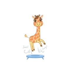 Giraffe jumping on trampoline vector