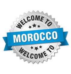 Morocco 3d silver badge with blue ribbon vector