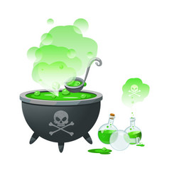 a halloween witch cauldron and bottles with potion vector image vector image