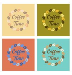 Assembly flat icons bean coffee time logo vector