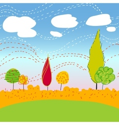 Autemn landscape with trees and clouds vector