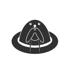 Black icon on white background antarctic seals vector