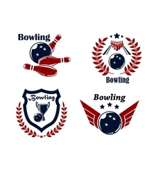 Bowling emblems or badges vector
