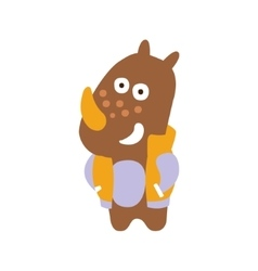 Brown rhinoceros in jacket smiling in autumn vector