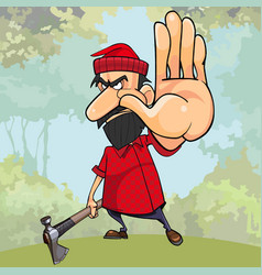 cartoon angry woodsman with an axe in the woods vector image vector image