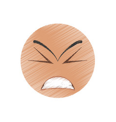 drawing angry winking emoticon image vector image