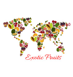 Exotic fruit world map poster for food design vector