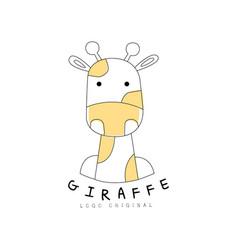 Giraffe logo original cute animal badge easy vector