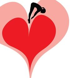 Girl jump in the heart vector