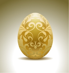 golden egg with floral decoration vector image vector image