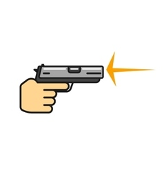 Hand holding gun shooting icon vector