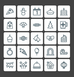 Holiday icons set collection of sweet toffee vector